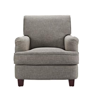 Emmy Rolled Gray Top Club Chair with Nail-Heads