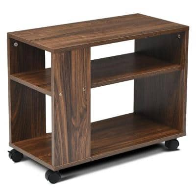 3-Tier Wood Outdoor Side Table with Storage Shelf, Wheels