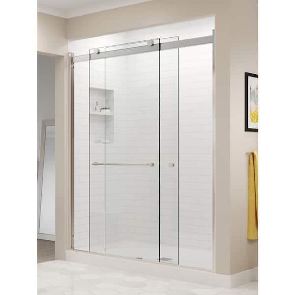 In Semi Frameless Sliding Shower Door, Shower Stall Glass Doors Home Depot