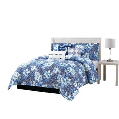 Ava 7-Piece Blue Comforter Set