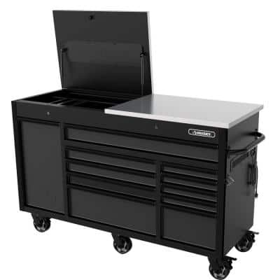 Heavy-Duty 63 in. W 11-Drawer, Deep Tool Chest Mobile Workbench in Matte Black with Flip-Top Stainless Steel Top