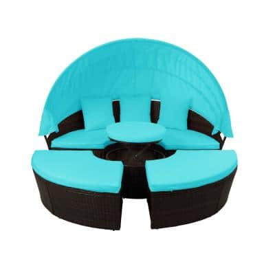 Belle Patio Furniture Round Wicker Outdoor Daybed Sunbed with Retractable Canopy with Blue Cushion