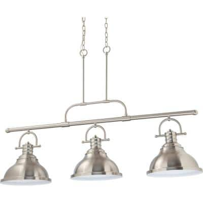 3-Light Integrated LED Indoor Brushed Nickel Linear Kitchen Island Hanging Pendant with Bell-Shaped Bowls