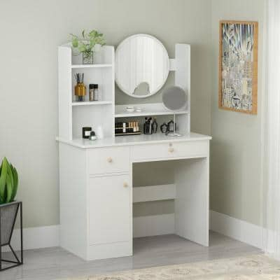 White Wood Makeup Vanity Dressing Table with 3-Storage Shelves, Storage Cabinet and 2-Drawers Round Mirror