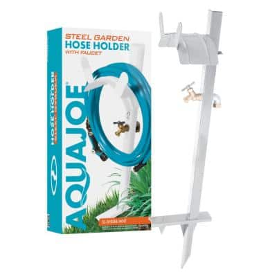 125 ft. Capacity Garden Hose Stand with Brass Faucet, White
