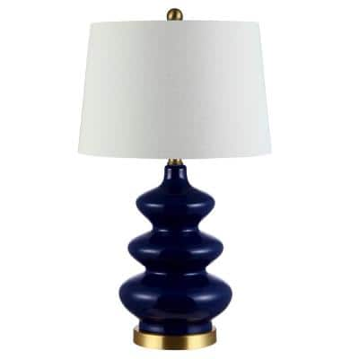 Brielle 27.5 in. Navy Table Lamp with White Shade