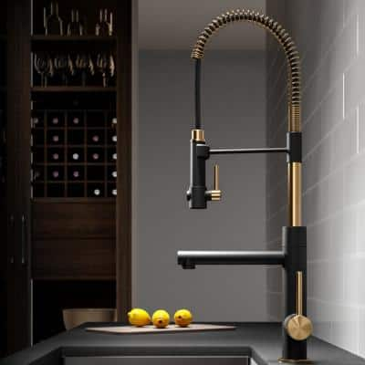 Artec Pro Single-Handle Pull-Down Sprayer Kitchen Faucet with Pot Filler in Brushed Gold/Matte Black