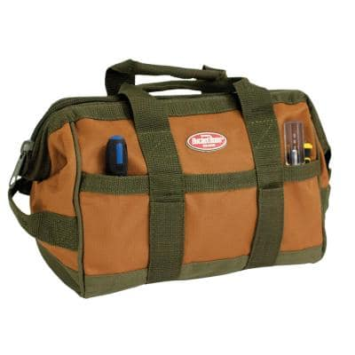 12 in. Gatemouth Tool Bag with zippered top and 16 Total Pockets