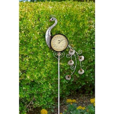 Peacock Outdoor Thermometer Garden Stake and Backyard Decor