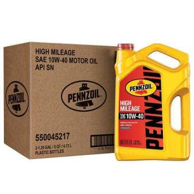 Pennzoil High Mileage SAE 10W-40 Synthetic Blend Motor Oil 5 - Qt. (3-Pack)