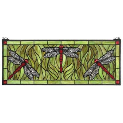 Emerald Green Dragonfly Tiffany-Style Stained Glass Window Panel