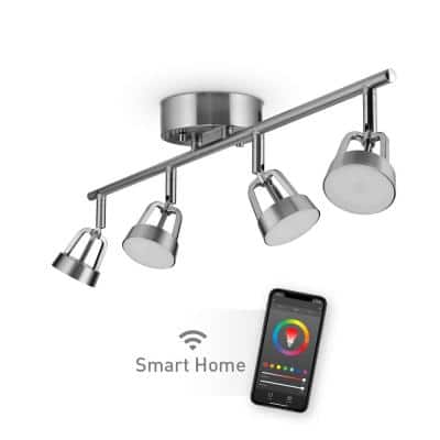 2 ft. Wi-Fi Smart Brushed Nickel Color Changing Tunable White LED Integrated Track Lighting Kit, No Hub Required