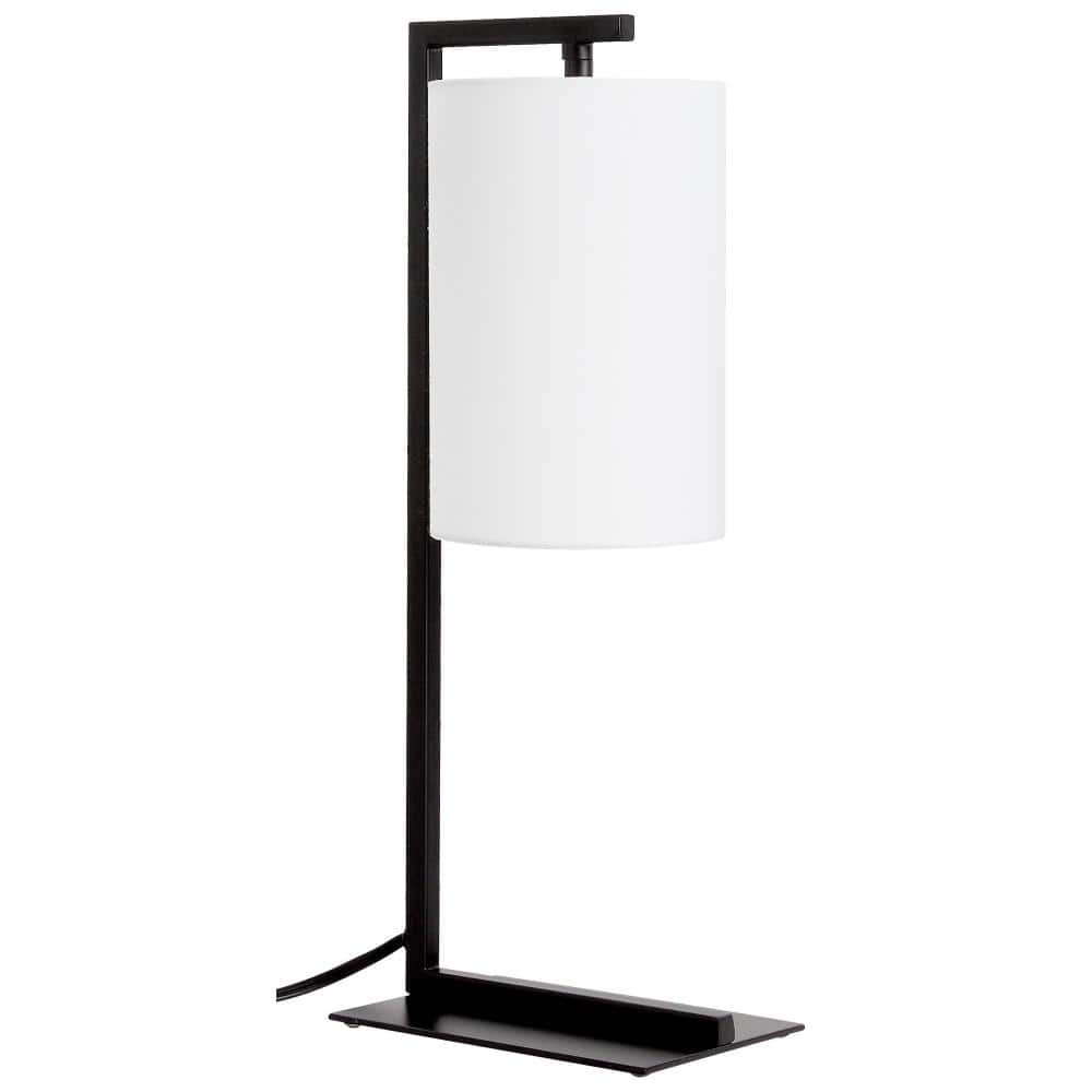 Ledpax Technology Kenton 17 75 In Black And White Table Lamp With Hanging Shade Lptlmww1 The Home Depot