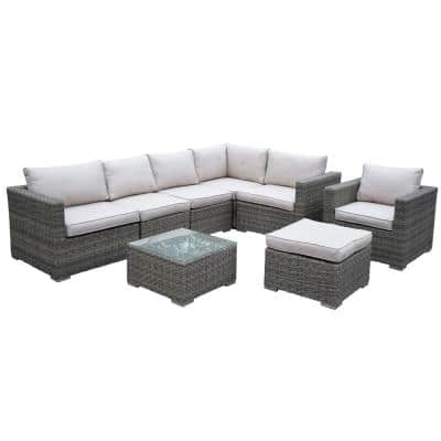 Borneo 8 Piece Patio Conversation Set With Oatmeal Cushions Hd93011 8 14csbg Bg The Home Depot