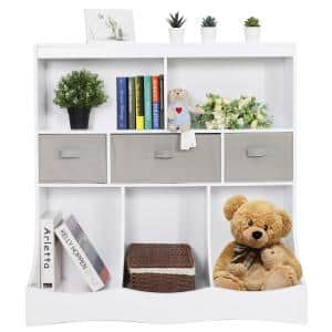 37.4 in. H White Kids Furniture Child Toy Storage Cabinet with 3 Drawers, 2 Open Bookcase