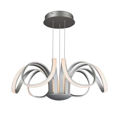 Capella 80-Watt Integrated LED Silver Chandelier