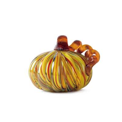 5 in. D x 4.25 in. H Multi-Striped Glass Short Pumpkin