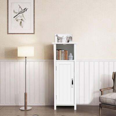 Bathroom 12 in. W Floor Storage Linen Cabinet Free Standing w/Single Door Adjustable Shelf White