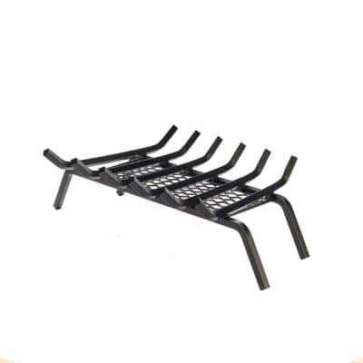 27 in. Steel Heavy-Duty Fireplace Grate with Ember Retainer