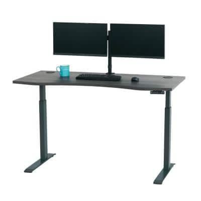 60 in. Rectangular Gray Standing Desk with Adjustable Height Feature