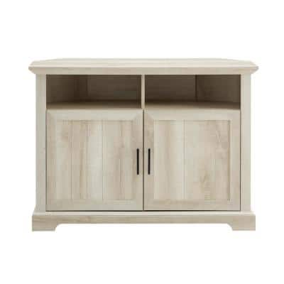 44 in. White Oak Wood Corner TV Stand Fits TVs Up to 50 in. with Storage Doors