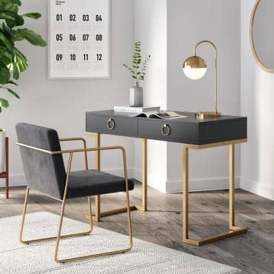 Leighton Black 2-Drawer Writing Desk or Vanity with Gold Accent