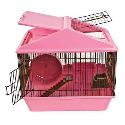 2-Level Pink Animal House Hamster Studio Home - 16 in. x 12 in. x 15 in.
