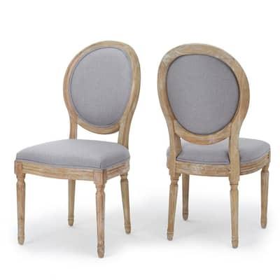 Cassandra Light Grey Fabric Distressed Dining Chair (Set of 2)