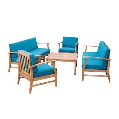 Giancarlo Teak 9-Piece Wood Outdoor Sofa Set with Blue Cushions
