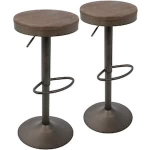 Dakota Antique and Brown Adjustable Bar Stool (Set of 2)