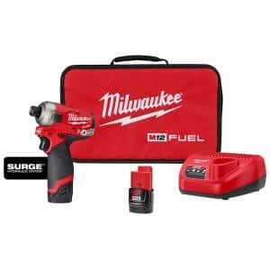 M12 FUEL SURGE 12-Volt Lithium-Ion Brushless Cordless 1/4 in. Hex Impact Driver Compact Kit w/Two 2.0Ah Batteries, Bag