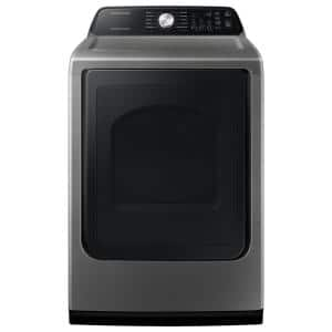 Large 7.4 cu. ft. Capacity Platinum Top Load Gas Dryer with Sensor Dry