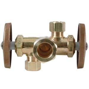 1/2 in. Nom Comp Inlet x 3/8 in. O.D. Comp x 3/8 in. O.D. Comp Dual Outlet Dual Shut-Off Multi-Turn Angle Valve