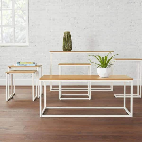 StyleWell - Donnelly Square White Metal End Table with Natural Wood Finish Top (20 in. W x 22 in. H)