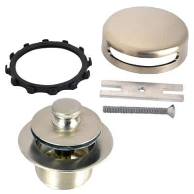 1.865 in. Overall Diameter x 11.5 in. Threads x 1.25 in. Innovator Overflow, Push Pull Bathtub Closure, Brushed Nickel