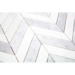 Dart White Carrara and Thassos 10-3/4 in. x 10-3/4 in. x 10 mm Polished Marble Mosaic Tile