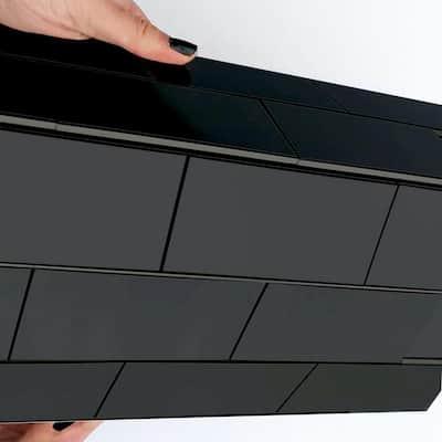 DIP Black Subway Tile 12 in. x 12 in. Self-Adhesive PVC Backsplash (10 pack)