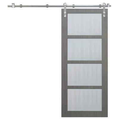 36 in. x 84 in. 4-Lite Driftwood Clear Coat Interior Sliding Barn Door with Round Stainless Steel Hardware Kit