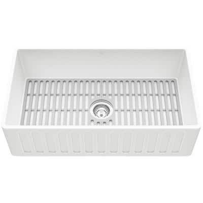 Matte Stone White Composite 33 in. Single Bowl Farmhouse Apron-Front Kitchen Sink Set with Strainer and Silicone Grid