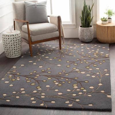 Aloysia Charcoal 2 ft. x 4 ft. Hearth Indoor Area Rug