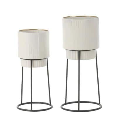 White Metal Cachepot Planters with Black Metal Stands (2-Pack)