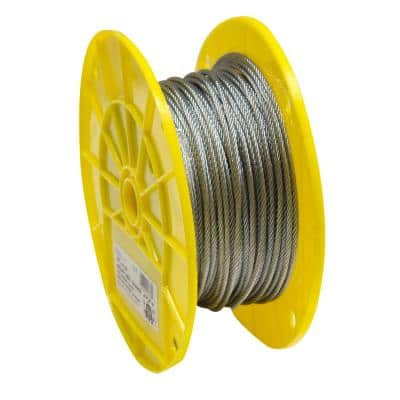 1/8 in. x 250 ft. Galvanized Aircraft Cable, 7x7 Construction - 340 lbs Safe Work Load - Reeled