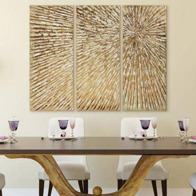 """48 in. x 20 in. """"Sunshine"""" Textured Metallic Hand Painted by Martin Edwards Wall Art (Set of 3)"""