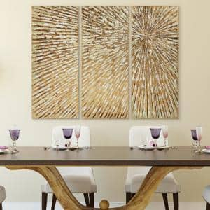 48 in. x 20 in. ''Sunshine'' Textured Metallic Hand Painted by Martin Edwards Wall Art (Set of 3)