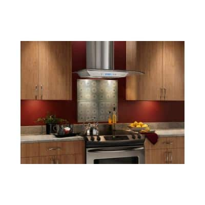 NS54000 29.5 in. Glass Canopy Style Convertible Wall Mount Range Hood with Light in Stainless Steel