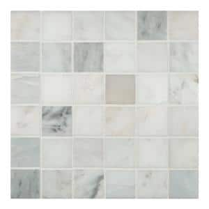 Greecian White 12 in. x 12 in. x 10 mm Honed Marble Mosaic Tile (10 sq. ft. / case)