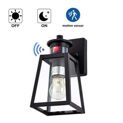 1-Light Black Motion Sensing Dusk to Dawn Outdoor Wall Lantern Sconce with Clear Tempered Glass