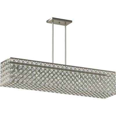 5-Light Indoor Brushed Nickel Square Rectangle Kitchen Island Pendant Chandelier w/ Sparkling Glass Diamond Crystals