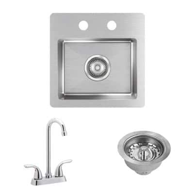 Crosstown 20 Gauge Stainless Steel 15 in. 2-Hole Dual Mount Bar Sink with Faucet and Drain