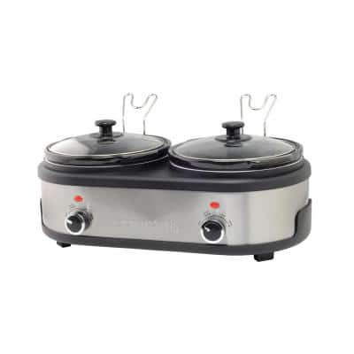 5 qt. Stainless Steel Twin Slow Cooker with Lid Rest